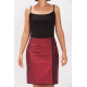 natural silk pencil skirt in dark red with contrasting black piping, covered buttons, side slit, front