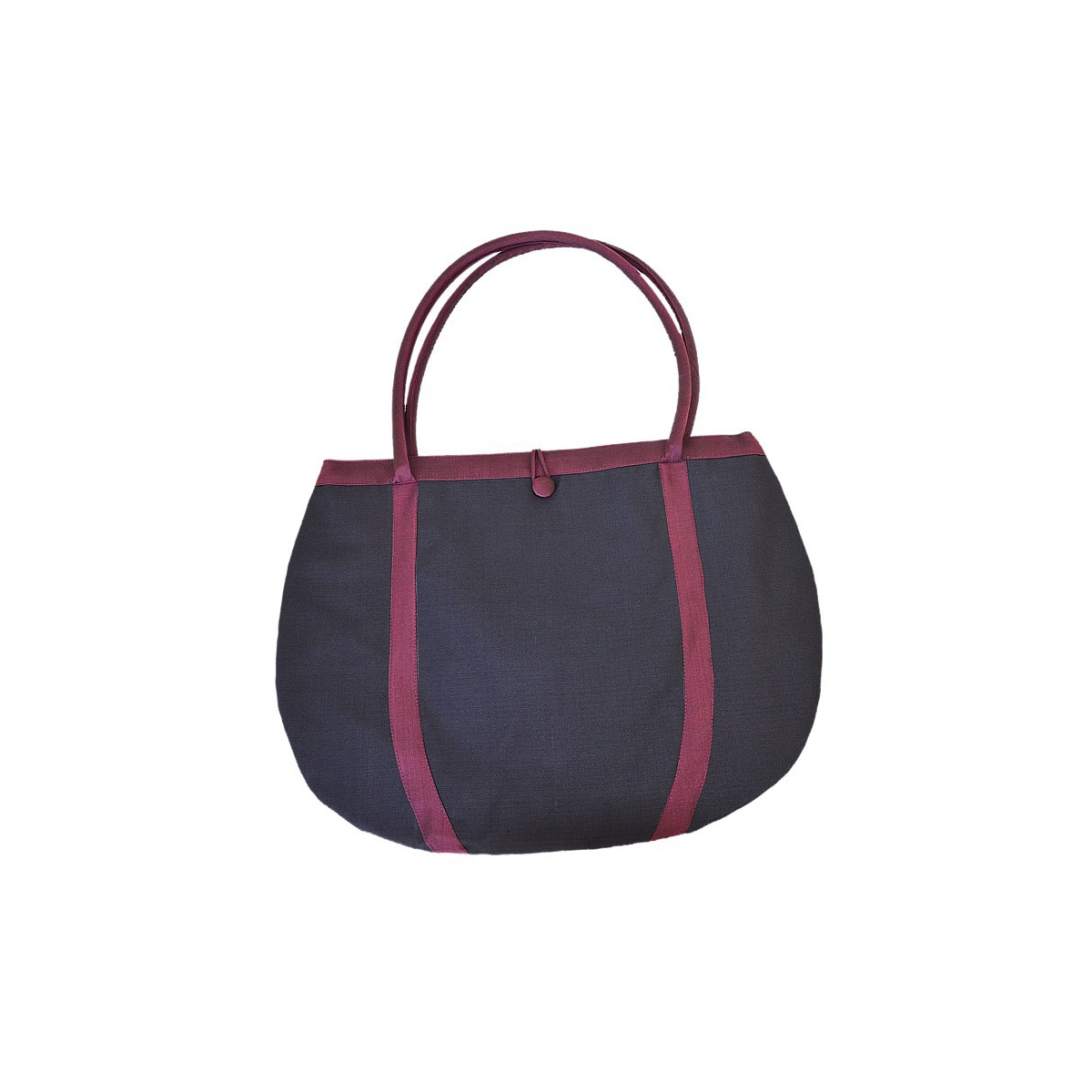 silk shopping bag in black and dark red, practical and light, vintage look, generous size