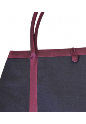 silk shopping bag in black and dark red, practical and light, vintage look, generous size, handmade