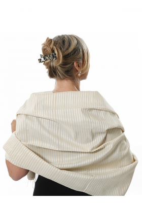 stripy scarf in lotus fiber and natural silk, beige and white, back