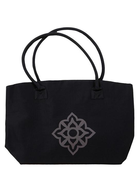 tote bag noir et gris en soie naturelle, motif asiatique