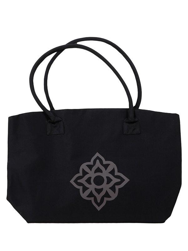 silk tote bag in black en grey, asian pattern