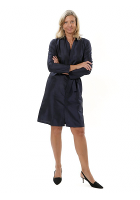 navy shirtdress in silk taffeta, long sleeves, handwoven traditionally