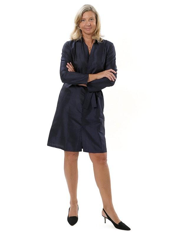 robe chemisier bleu marine en soie naturelle, manches longues, tissée main