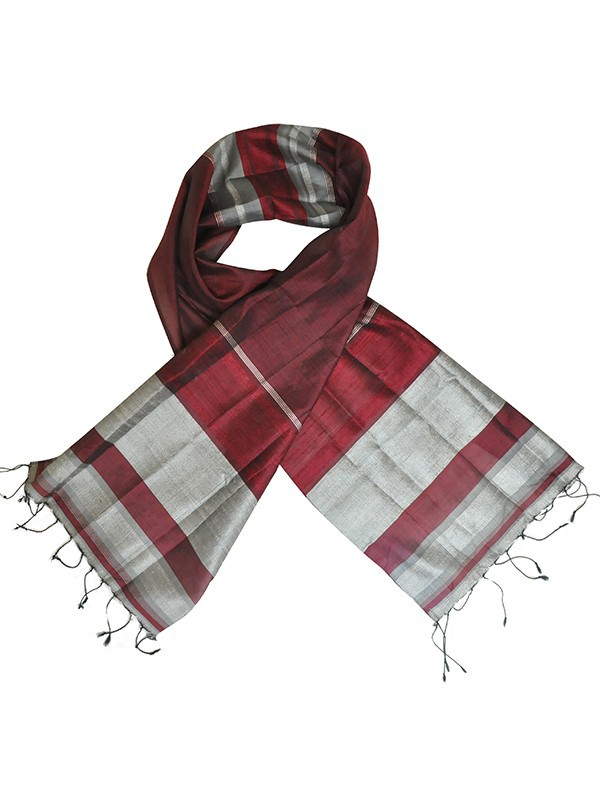 taffeta and raw silk scarf in red and silver, fair-trade certified