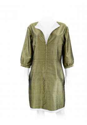 khaki and white pure silk dress, lined with white silk, handwoven traditionally