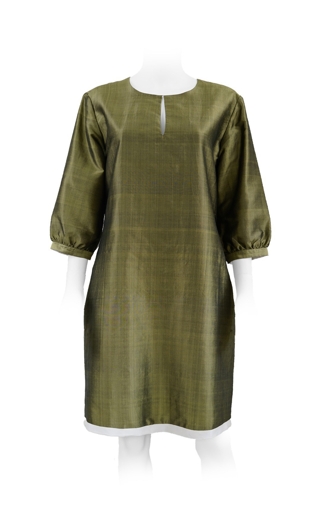 khaki and white pure silk dress, lined with white silk, handmade in Cambodia