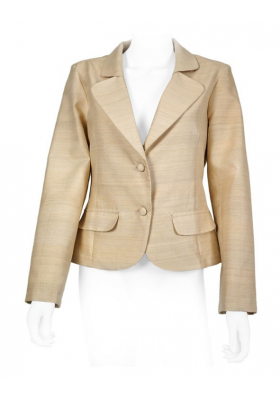 beige jacket in lotus fiber and natural silk, notched-collar and covered buttons, decorative flap pockets, partly lined