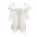ivory top in natural silk, short sleeves, lined with silk, square neckline