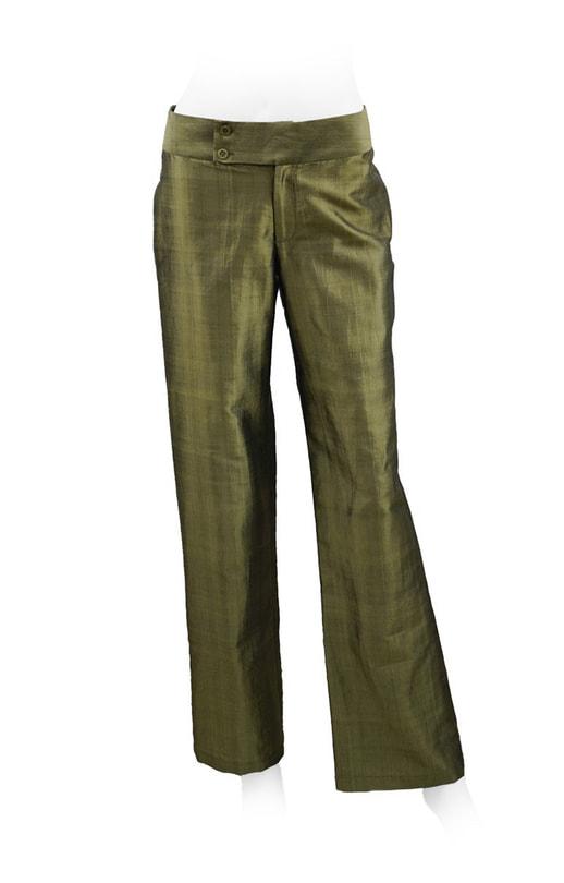 pantalon kaki en soie naturelle, coupe droite, ceinture à double boutonnage