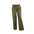 bronze trousers in natural silk, straight legs, wide belt, shiny finish
