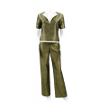 bronze trousers in natural silk, straight legs, wide belt, shiny finish, khaki top in natural silk with short sleeves