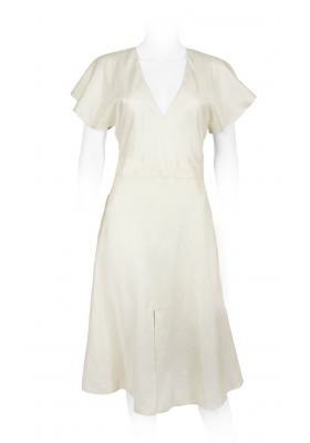 ivory chiffon silk, entirely lined, fitted waistline with flounced sleeves and deep V-neckline