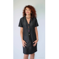 black dress in natural silk with short sleeves and colored buttons, hand woven