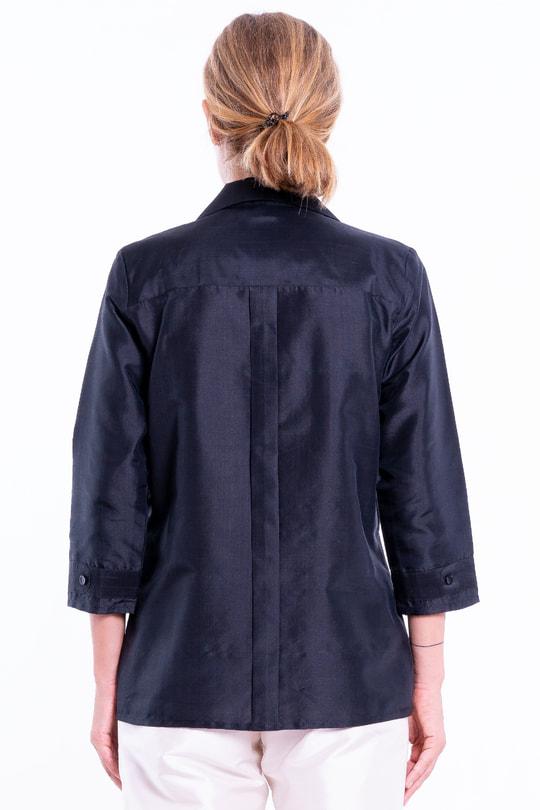 black taffeta silk shirt, vintage look, three-quarter length sleeve, chest pocket, middle pleat at the back, back