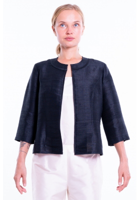 black natural silk jacket, round flat collar, three-quarter sleeves, no buttons