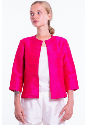 pink natural silk jacket, round flat collar, three-quarter sleeves, no buttons