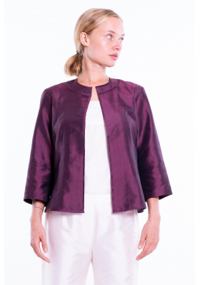 plum natural silk jacket, round flat collar, three-quarter sleeves, no buttons