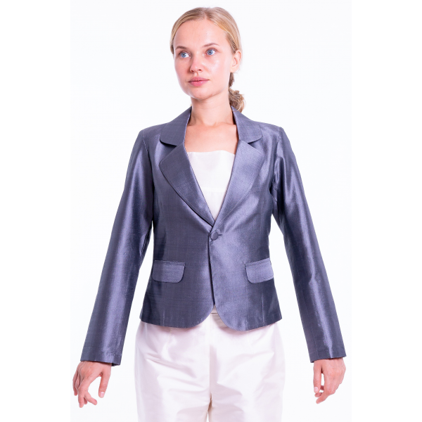 taffeta silk Spencer jacket in grey, flap pockets, open double collar, partly lined in pure cotton, front