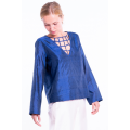 blue raw silk blouse, V neckline with intertwined silk ribbons