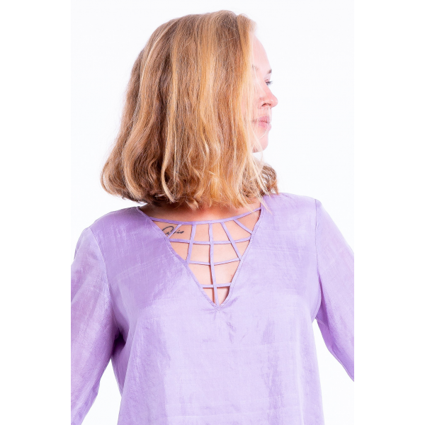 purple natural silk blouse with long sleeves, handmade in Cambodia