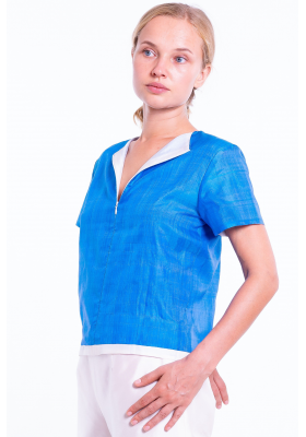 pure taffeta silk t-shirt in blue and white, short sleeves, handmade in Cambodia
