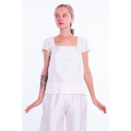 ivory top in natural silk, short sleeves, lined with silk, square neckline, front