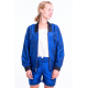 bombers blue lazuli and black cuffs in natural silk, elasticated collar, waistband, front