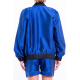 bombers blue lazuli and black cuffs in natural silk, elasticated collar, waistband, dos