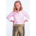 soft pink natural silk shirt, three-quarter length sleeve, chest pocket, middle pleat at the back