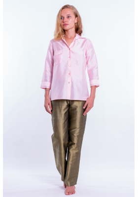 Ambre soft pink silk shirt