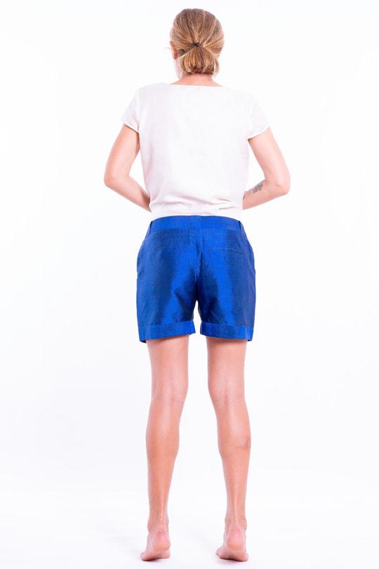 blue short in natural silk, back