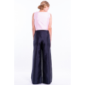 pure silk trousers in black, flared shape, invisible zip on the side, back