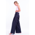pure silk trousers in black, flared shape, invisible zip on the side, back, handwoven traditionally