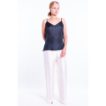 white raw silk trousers, invisible zip on the side with cami tank top
