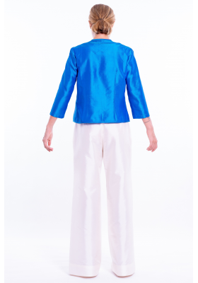 Palazzo off white silk trousers