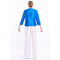 white raw silk trousers, invisible zip on the side with silk top, back
