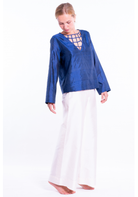 white raw silk trousers, invisible zip on the side with blue natural silk top