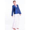 blue raw silk blouse, V neckline with intertwined silk ribbons, handmade in Cambodia