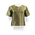 natural silk bronze and white top, fully lined, short sleeves