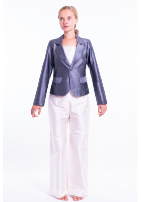 taffeta silk Spencer jacket in grey, flap pockets, open double collar, partly lined in pure cotton, white natural silk trousers
