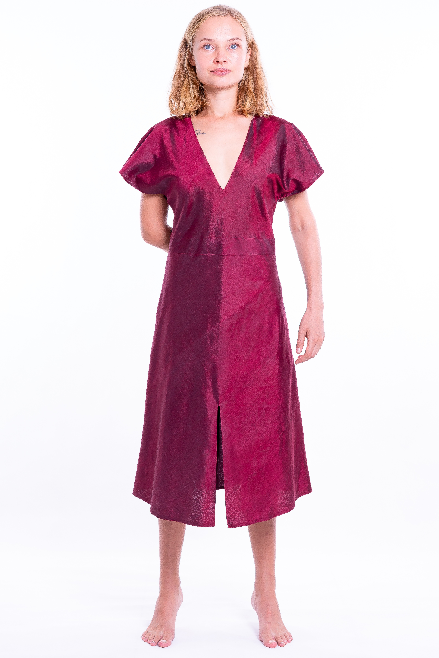 red natural silk dress, fully lined, deep V neckline, front