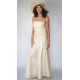 off-white long gala dress in natural silk, wavy ruffles at the waist and a loose bow, flared skirt, fair-trade product