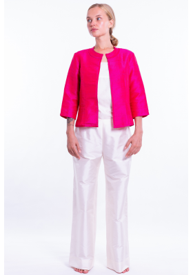 pink natural silk jacket, round flat collar, three-quarter sleeves, no buttons, front