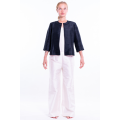 black natural silk jacket, round flat collar, three-quarter sleeves, no buttons, front