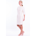 pure raw silk dress in natural ivory, mid-length, vintage inspiration, broad neckline, pencil skirt, integrated sewn belt