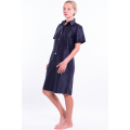 black dress in natural silk with short sleeves and colored buttons, tailored collar