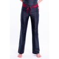 natural silk trousers in black and cherry red, straight leg, invisible zip and removable contrasting belt, front