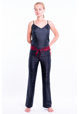 natural silk trousers in black and cherry red, straight leg, invisible zip and removable contrasting belt, black silk caraco