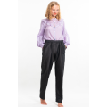 black trousers in natural silk, elastic waist and side pockets, front